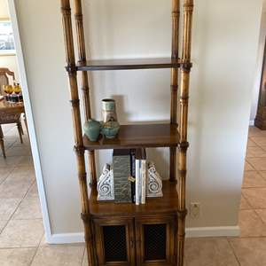 Lot # 128 Vintage Three Tier and Two Door Compartment Shelving