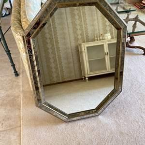 Lot # 134 Octagon Inlay Frame Design Hanging Mirror
