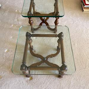 Lot # 136 Pair of Glass Top Side Tables with Wood Legs