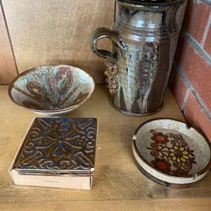 Lot # 149 Lot of Pottery - Coasters, Ashtray, Bowl, and Pitcher