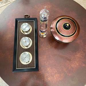 Lot # 168 Weather Station, Galileo Thermometer, and Decorative Bowl