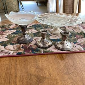 Lot # 171 Pair of Crown Sterling Candle Stick Holders and Glass Serving Plates