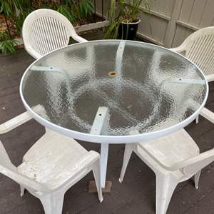 Lot # 199 Outdoor Table Set - White with Glass Top