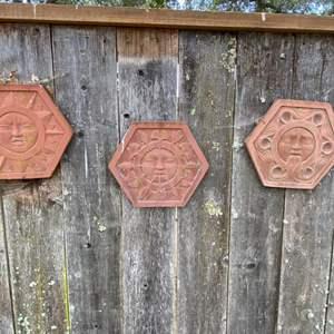 Lot # 207 Set of 3 Terracotta Sun Garden Ornaments