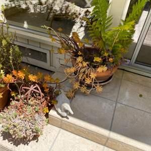 Lot # 219 Lot of Plants plus Stone Duck Decoration