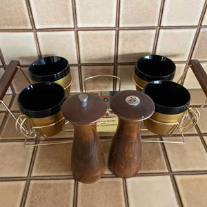 Lot # 242 Set of Thermo Service Cups and Pair of Salt/Pepper Mills
