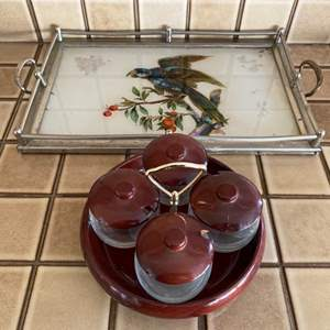 Lot # 244 Decorative Serving Tray and Glass Containers