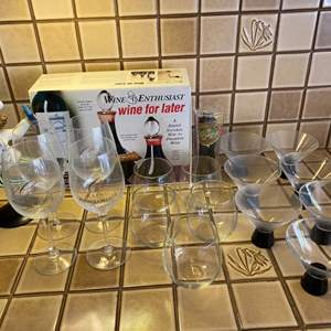 Lot # 245 Lot of Wine Items - Glasses, Decorations, Containers, Etc.