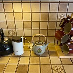 Lot # 246 Teapots, Coffee Grinder, and Lot of Mugs (Includes Mug Tree/Stand)