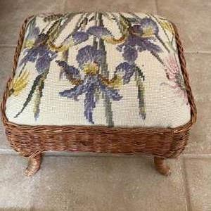 Lot # 248 Floral Footrest with Needlepoint Top and Wicker Siding