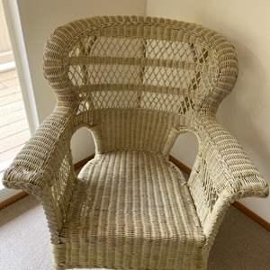 Lot # 249 White Wicker Chair