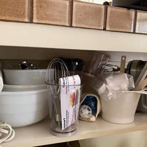 Lot # 253 Lot of Kitchen Items - Bowls, Blender/Mixer, Whisks, Measuring Items, Etc.