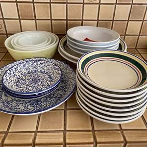 Lot # 257 Lot of Plates and Bowls -Various Patterns and Styles