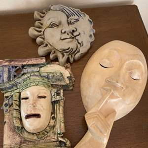 Lot # 264 Lot of Wall Mounted Decorations - Theater Mask Theme