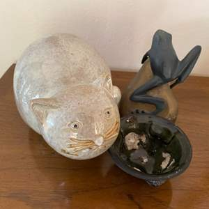 Lot # 266 Acropolis Bowl, Cat Figurine, and Frog Figurine