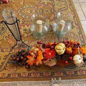 Lot # 285 Autumn Decor - Fake Plant Centerpiece, Acorn Bells?, Tall Candles in Glass Jars