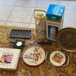 Lot # 288 Lot of Collectibles - Buggs Bunny Plate, Shortbread Cookie Mold, Thermos, Corn Holders, Etc.