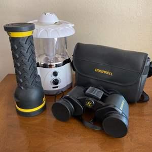 Lot # 293 Flashlights and Bushnell Binoculars