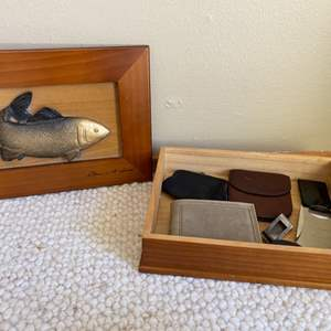 Lot # 296 Wooden Box with Metal Fish Design Inlay, signed - Includes Contents