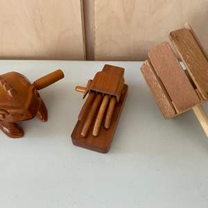 Lot # 302 Lot of Three Wooden Toys - Frog, Hand, and Spinner?