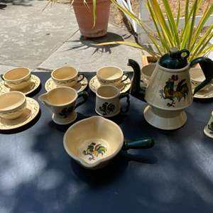 """Lot # 321 Rooster Tea Set Titled """"Poppytrail"""" by Metlox"""