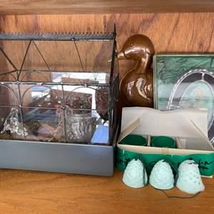 Lot # 337 Mini Terrarium, Floral Frame, and Duck Hanger