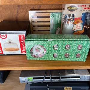 Lot # 338 Lot of Kitchen Items - Cheese Dome, Cookie and Donut Press, Tea Cups and Plates