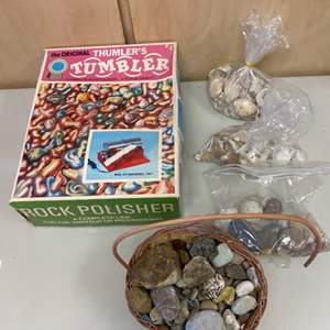 Lot # 343 Rock Polisher With Rocks and Seashells