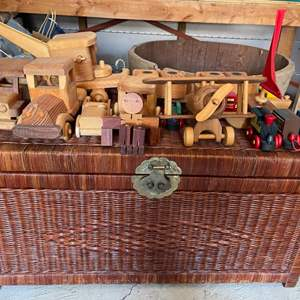 Lot # 354 Wicker Chest with Wooden Toys