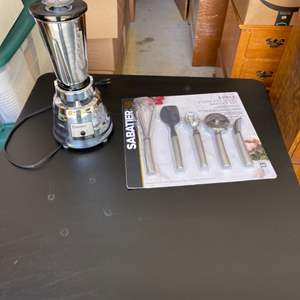 Lot # 357 Osterizer Brand Blender and Sabatier Brand Stainless Steel Kitchen Gadgets