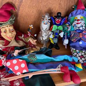 Lot # 361 Lot of Clowns: Puppet, Dolls, and Figurines
