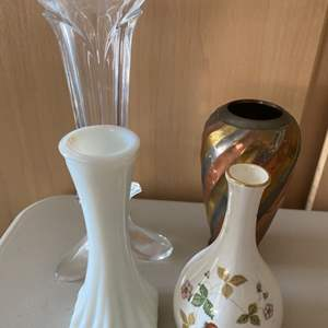 """Lot # 376 Lot of Glass and Porcelain Vases - Includes """"Wild Strawberry"""" Wedgwood"""