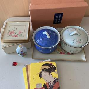 Lot # 377 Japanese Dish Set - Coasters, Vases, Bowls with Lids, Small Plates
