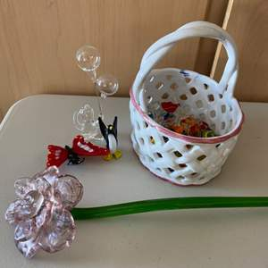 Lot # 378 Glass Decorations - Flower, Basket, Candies, Butterfly, Penguin, Balloons