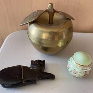Lot # 380 Decorative Containers - Golden Apple, Black Cat, Vase?