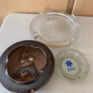 Lot # 382 Three Ashtrays - One with Funny Face Inside