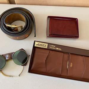 Lot # 389 Lot of Leather Products - Belt, Wallets, and Aviator or Motorcycle Glasses