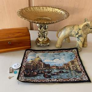 Lot # 392 Lot of Collectables - Goldtone Elephant Figurine, Wooden Box, Tiny Tapestry, Etc.