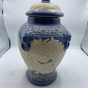 Lot # 3 Blue/White Glazed Pottery Urn