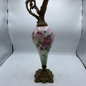 Lot # 4 Floral Design Decorative Glass Vase with Brass Top and Base