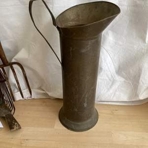 """Lot # 13 Antique Brass """"5 Kan"""" Water Bucket or Great Umbrella Stand"""