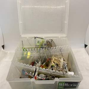 Lot # 15 Plastic Bin Filled with Fishing Lures