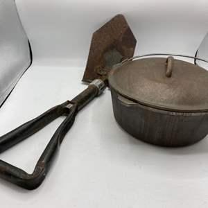 Lot # 19 Camp Stove Cast Iron Pot and Folding Shovel