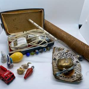 Lot # 21 Lot of Collectibles - Norelco Shaver, Baume Scale for Syrup, and Small Items (Figurines, Marbles, etc)