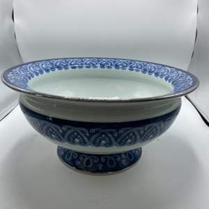 Auction Thumbnail for: Lot # 22 The Bombay Company Centerpiece Bowl, Blue and White