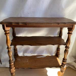Lot # 26 Wooden Side Table with Two Shelves
