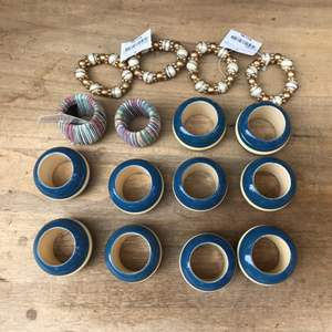 Lot # 60 Mixed Napkin Holder Lot - Blue, Beaded, and Strung?
