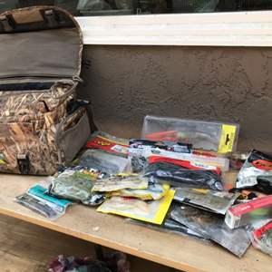 Lot # 69 Avery Fishing Bag with Lures, Soft Baits, & Tackle