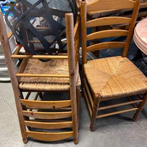 Lot # 25 Lot of Three Matching Wooden Chairs plus Back Supporters