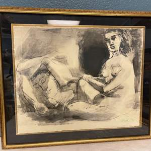Lot # 38 Homme Couche et Femme Assise, Signed Picasso